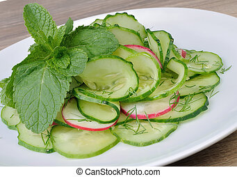 radis, concombre, salade
