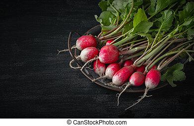 radis, table, bois