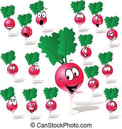 radish cartoon with many expressions isolated on white...