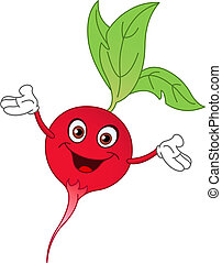 Cartoon radish raising his hands