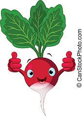 Radish Character giving thumbs up - Illustration of a radish...