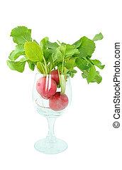 radish in a glass