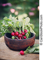 Radish in an old wooden bowl