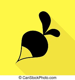 Radish simple sign. Black icon with flat style shadow path on yellow background.