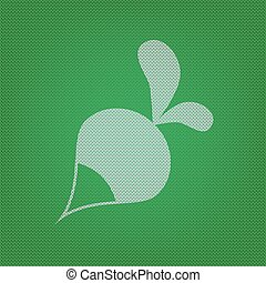 Radish simple sign. white icon on the green knitwear or woolen cloth texture.
