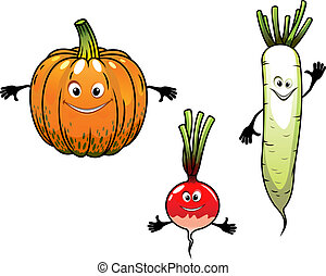 Radish, turnip and pumpkin vegetables with smiles in cartoon...