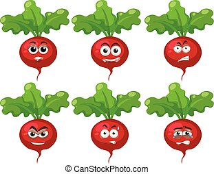 Radish with facial expressions on white background