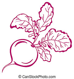 Radish with leaves, pictogram - Vegetable, red radish with...