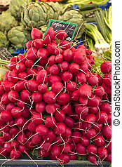 Radishes on a street market