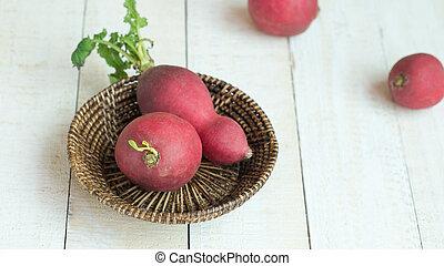 Radishs in basket on white background