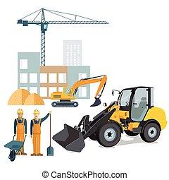 Radlader und Bau.eps - Construction site with crane and...