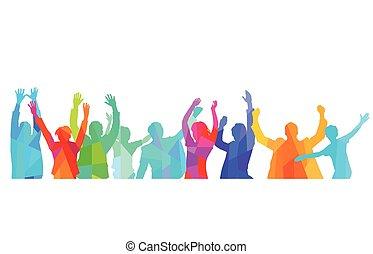 radość, grupa, ludzie