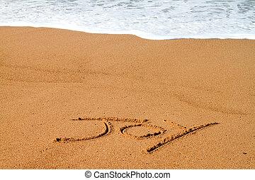 radość, pisemny, na, plaża