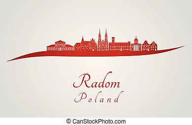 Radom skyline in red