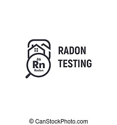 Radon testing first alert kit logotype. Home rn remediation service logo. Poisonous chemical element, gas spreading prevention icon. Black and white house and magnifying glass contour vector sign