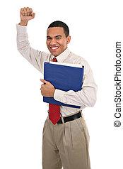 radosny, biznesmen, amerykanka, szczęśliwy, afrykanin
