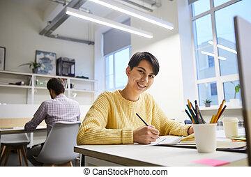 radosny, dama, projektant, nowoczesny, biuro