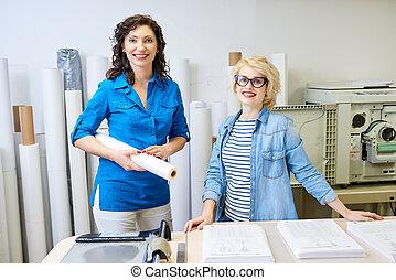 radosny, druk biuro, kobiety