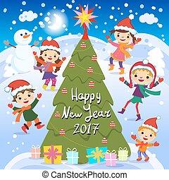 radosny, dzieciaki, grupa, zima, szczęśliwy, ilustracja, interpretacja, snow., 2017., year., wektor, święty, nowy, fun., kapelusz, dzieci, czerwony, pień