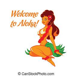 radosny, dziewczyna, aloha