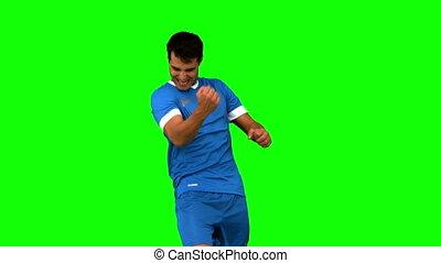 radosny, gracz, piłka nożna, gesturing