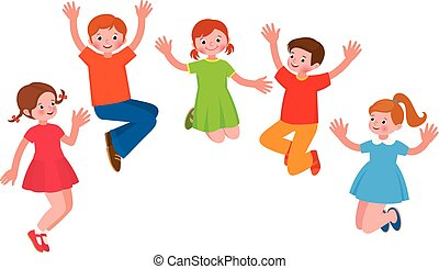 radosny, grupa, ilustracja, dzieci, skok, wektor, rysunek