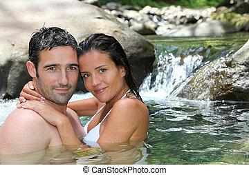 radosny, kąpanie się, rzeka, closeup, para