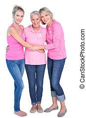 radosny, kobiety, chodząc, różowy, szczyty, i, wstążki, dla, rak piersi