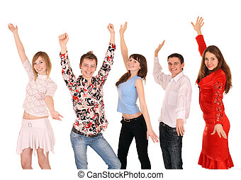 radosny, ludzie., grupa, młody