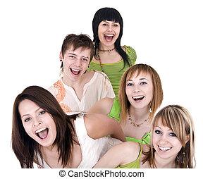 radosny, ludzie., młody, grupa