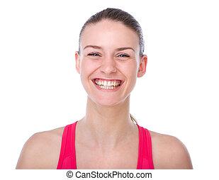 radosny, młoda kobieta, uśmiechanie się