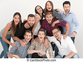 radosny, obiecujący, grupa, młodzież