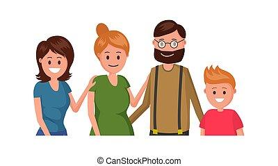 radosny, płaski, rodzina, afisz