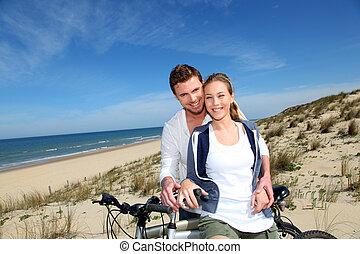 radosny, para, jeżdżenie na rowerze, piasek diuna