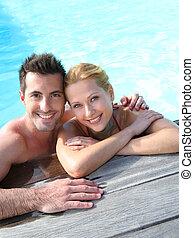 radosny, para, kałuża, odprężając, pływacki