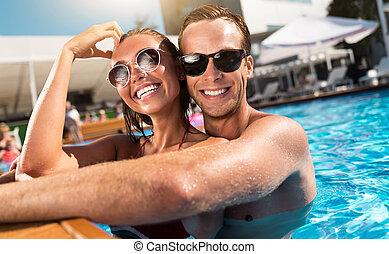 radosny, para, kałuża, pływacki