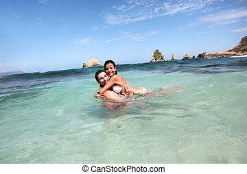 radosny, para, pływacki, ocean