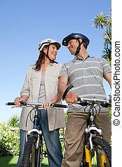 radosny, para, z, ich, rowery