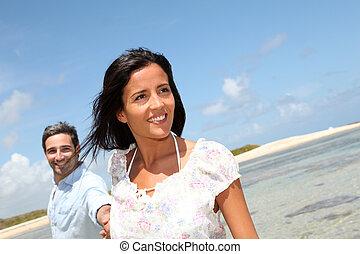 radosny, pieszy, para, morze