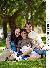 radosny, rodzina, ogród, posiedzenie
