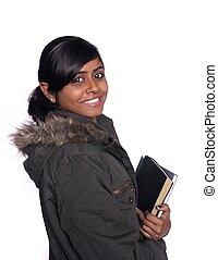 radosny, samica, na, odizolowany, /, ciemny, tło., indianin, kolegium, asian, student, biały, ethinc