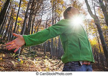 radosny, w, przedimek określony przed rzeczownikami, las