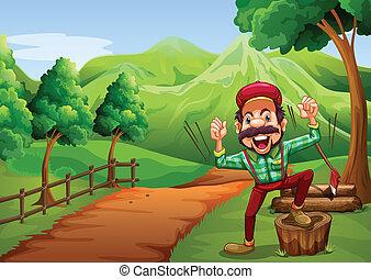radosny, woodman, chodzenie, pagórek, ścieżka