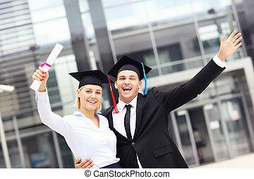 radosny, zewnątrz, uniwersytet, absolwenci