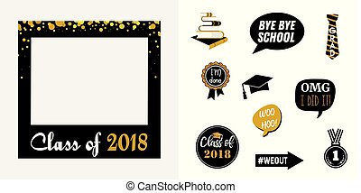 raduation party vector design elements and photo booth props. vector illustration