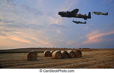 raf, 领域, 结束, 飞行, 飞机, 淡紫色, 2, 日落, 世界, 战争