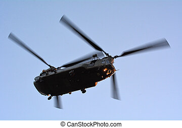 RAF Chinook HC4 fly over London, UK - LONDON - MAY 14...