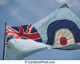 RAF Flag - British RAF flying in the wind.