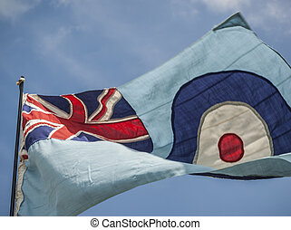RAF Flag - British RAF flying in the wind.