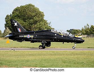 raf hawk trainer after landing at raf waddington